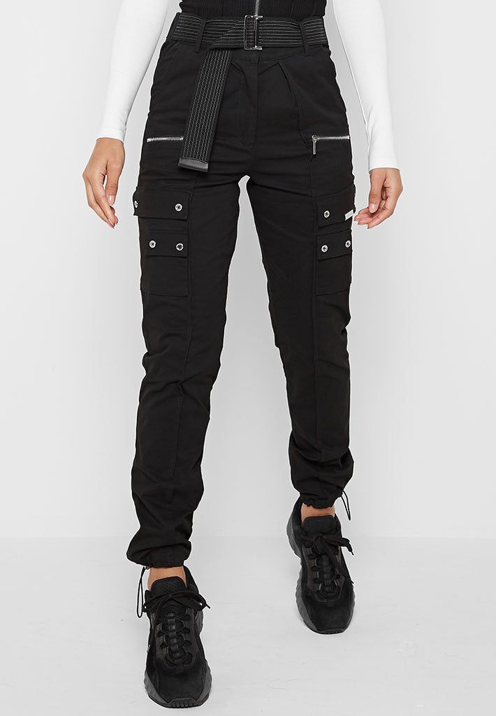 Cargo Trousers with Self Belt - Black