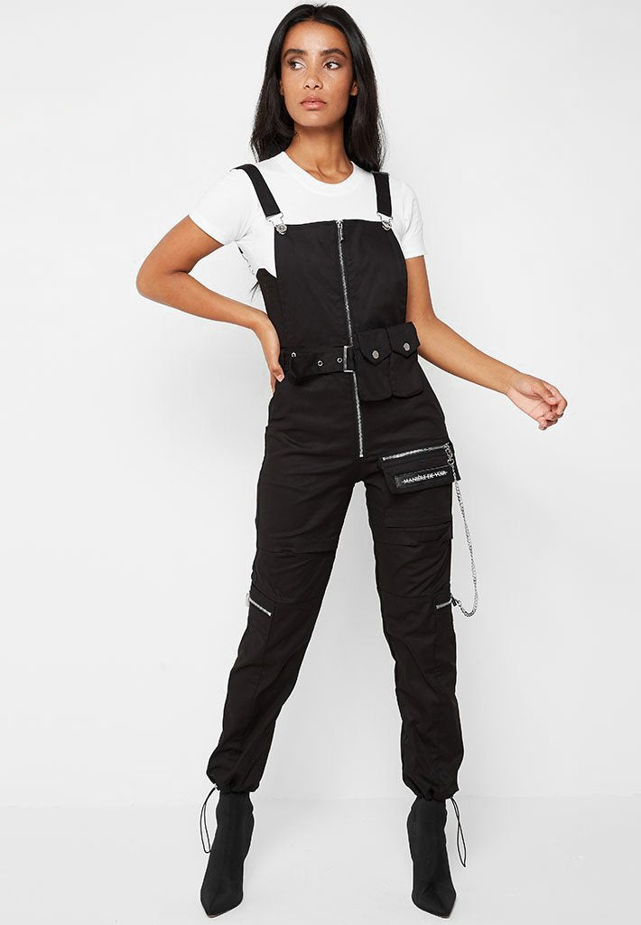 Cargo Dungarees with Chain - Black