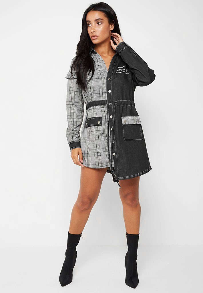 Check Denim Shirt Dress - Grey