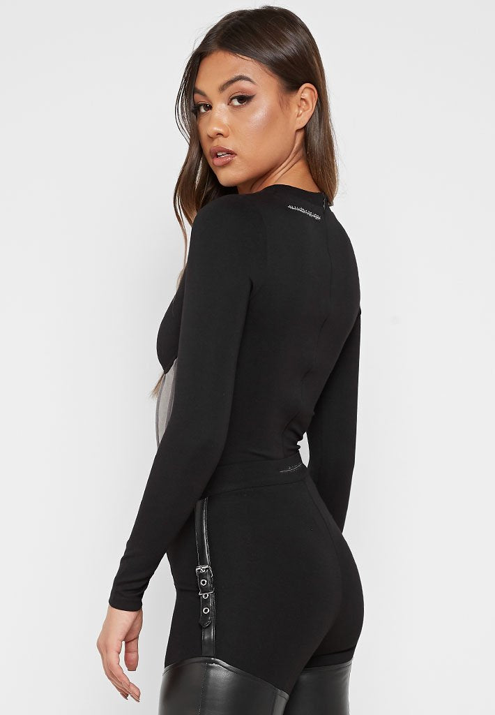 Corset Underbust Long Sleeve Bodysuit - Black