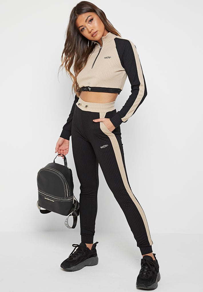 Ribbed Track Top - Black/Beige