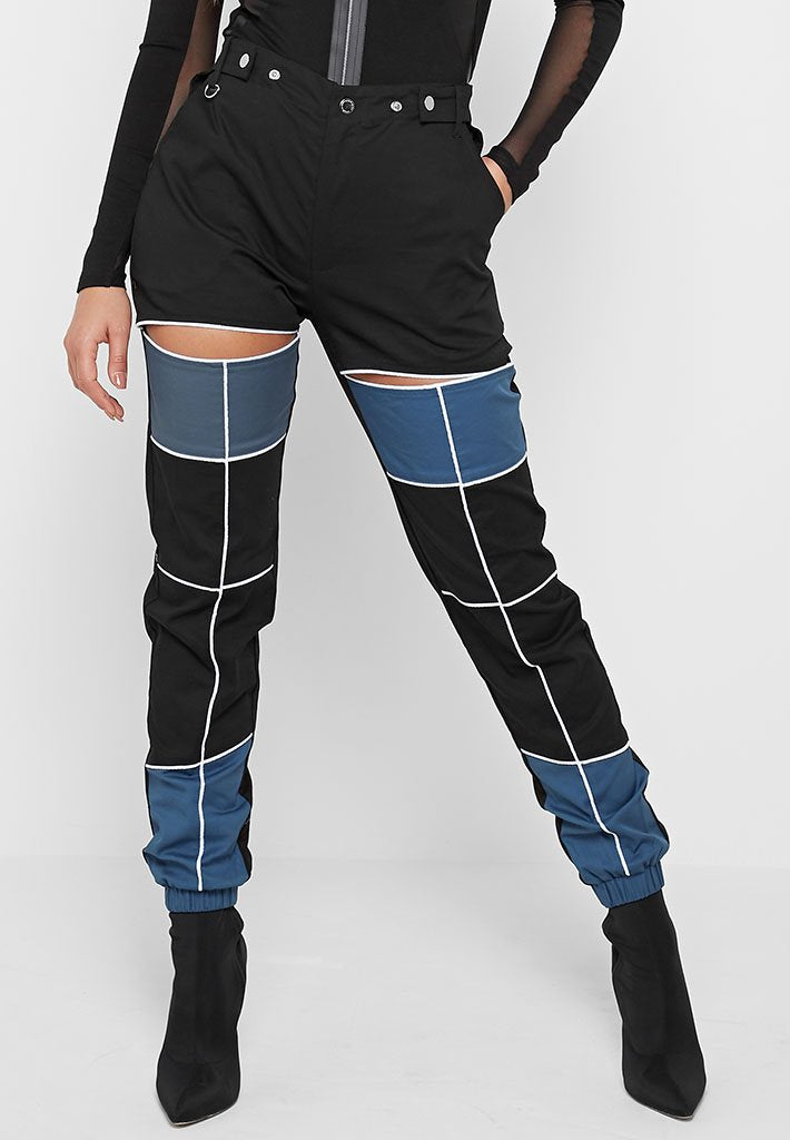 Piped Cut Out Cargo Pants - Black/Blue