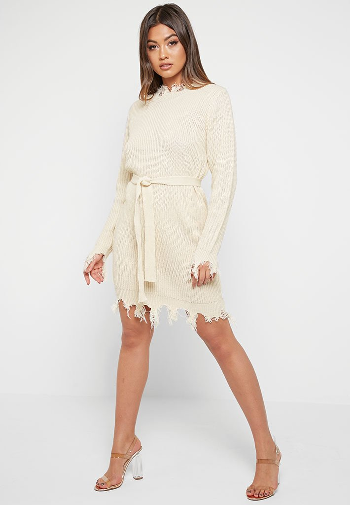 Distressed Knitted Jumper Dress - Beige