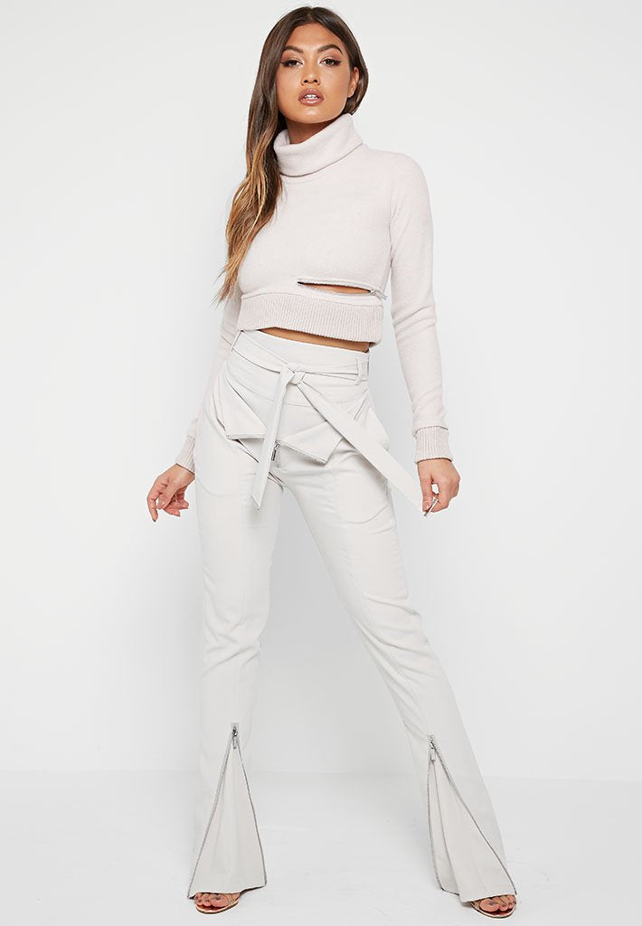 Wide Leg High Waisted Trousers - Stone