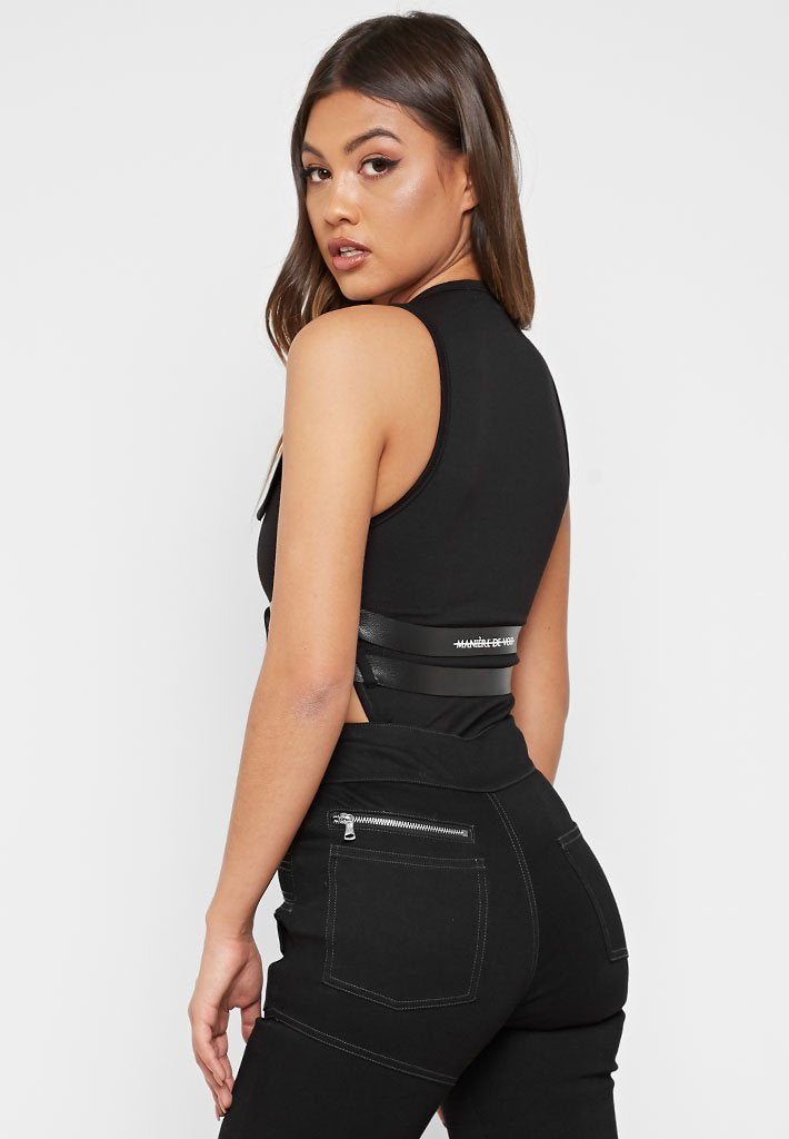 High Leg Double Belted Bodysuit - Black