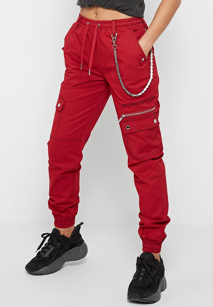 Cargo Pants with Biker Chain - Red