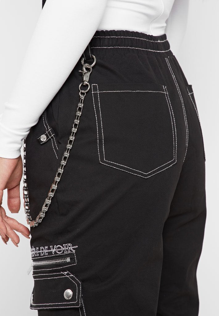Cargo Pants with Biker Chain - Black