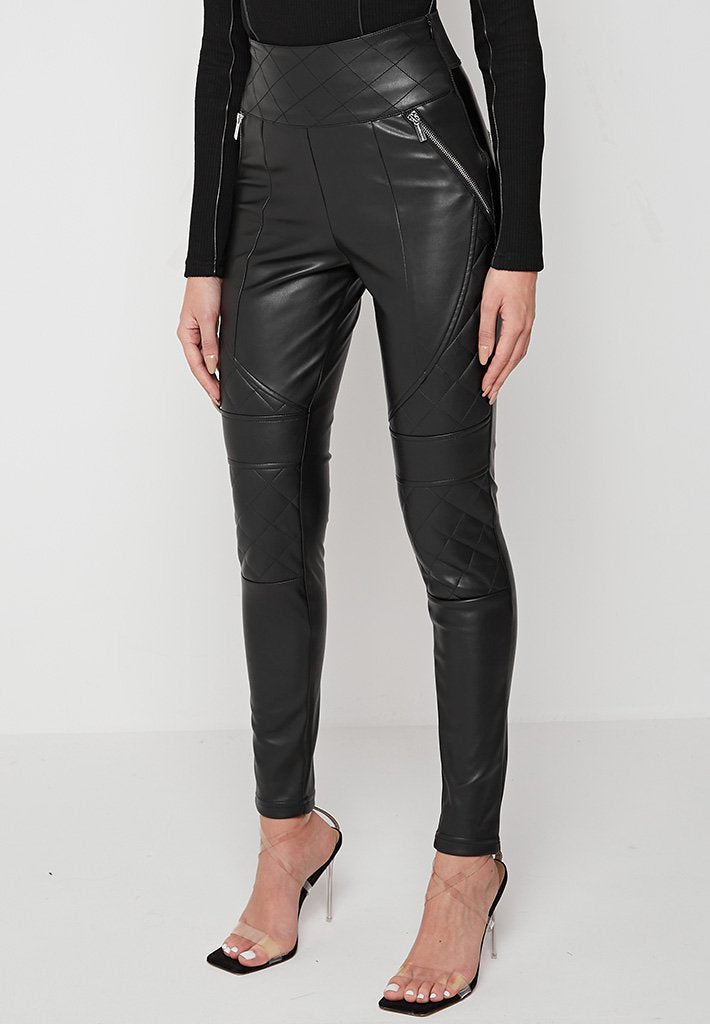 Quilted Vegan Leather Leggings - Black