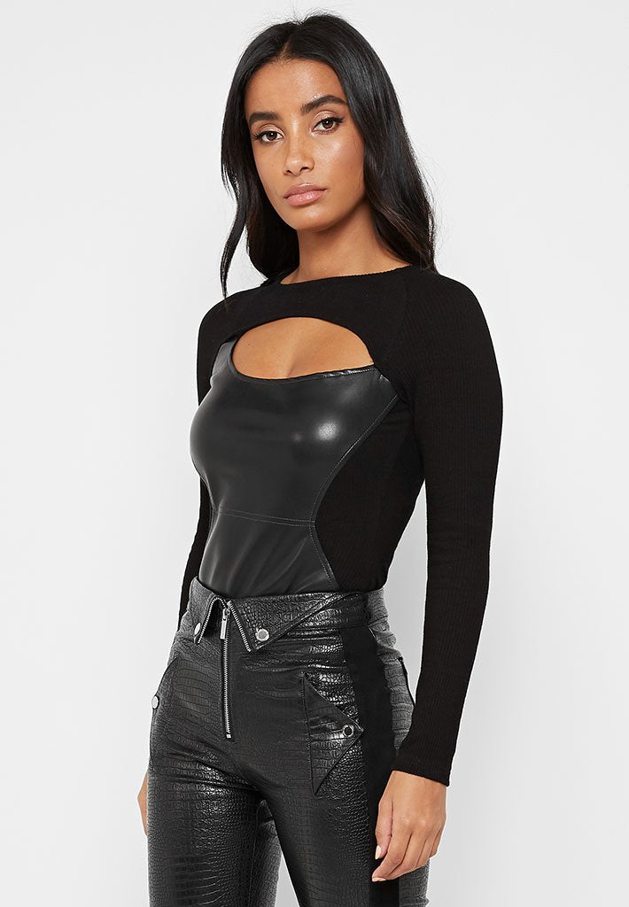 Ribbed Vegan Leather Bodysuit with Cut Out - Black