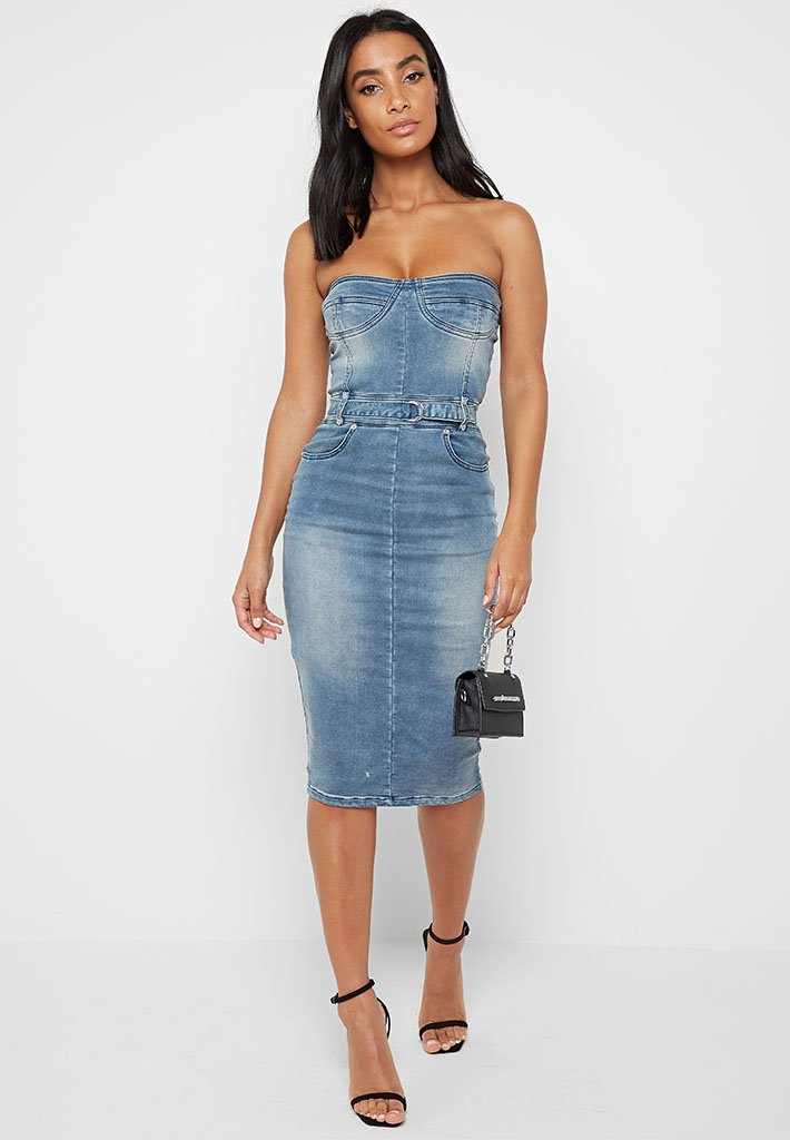 Denim Midi Dress with Embellished Straps - Blue