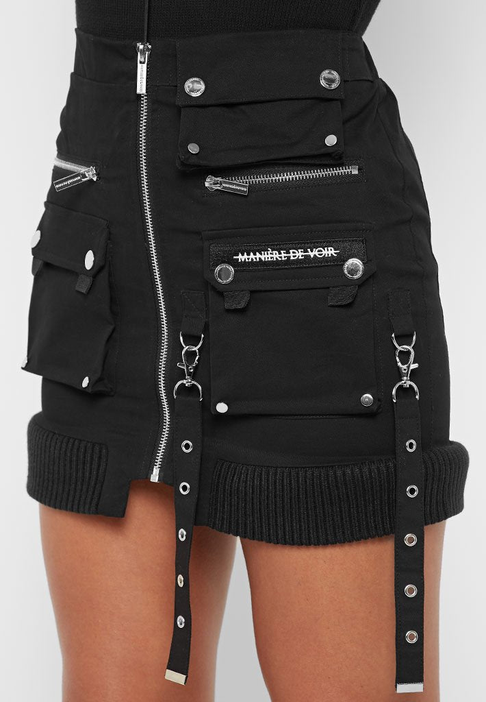 Cargo Mini Skirt with Ribbed Hem - Black