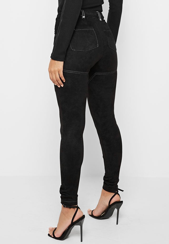 Vegan Suede Leggings with Lace Up - Black