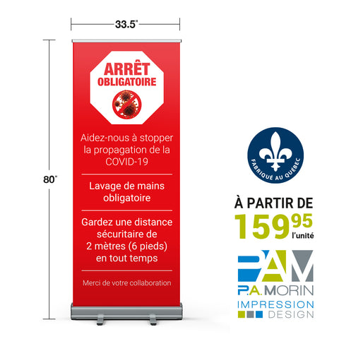 Roll-up standard «ARRÊT OBLIGATOIRE»