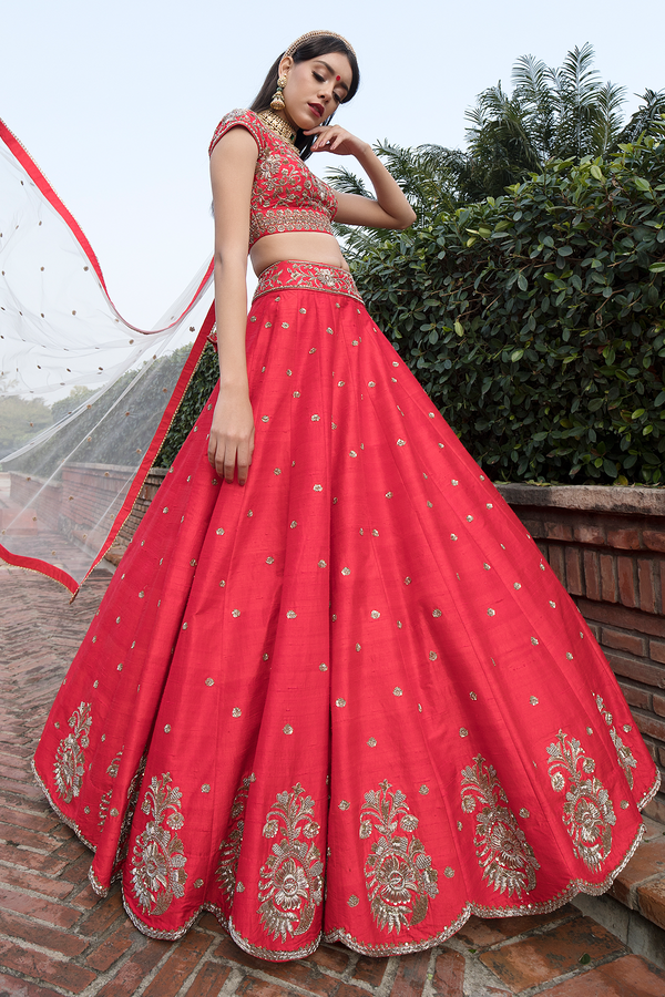 Red Raw-silk Embroidery Lehenga