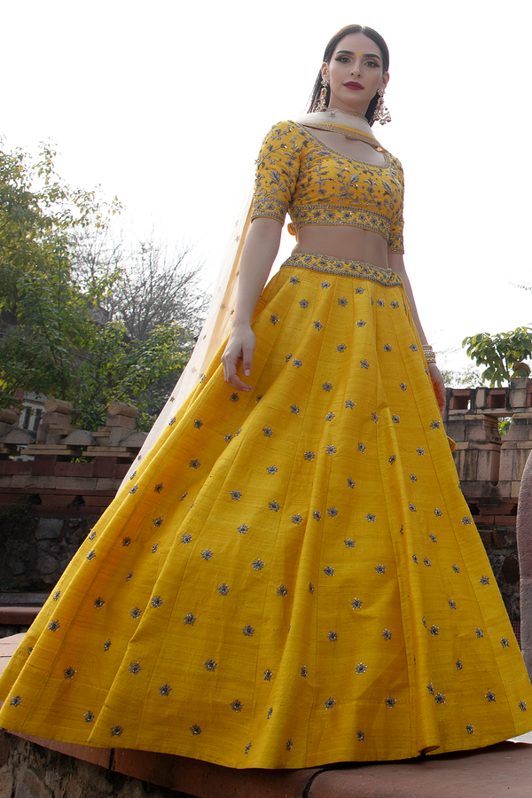 Yellow Raw-silk embroidery lehenga