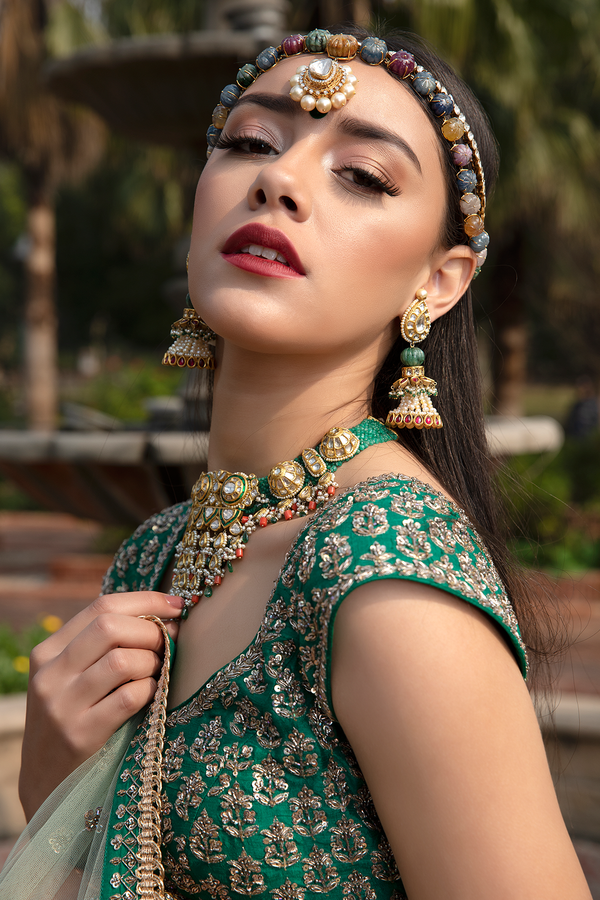 Bottle Green Raw-Silk Embroidery Lehenga