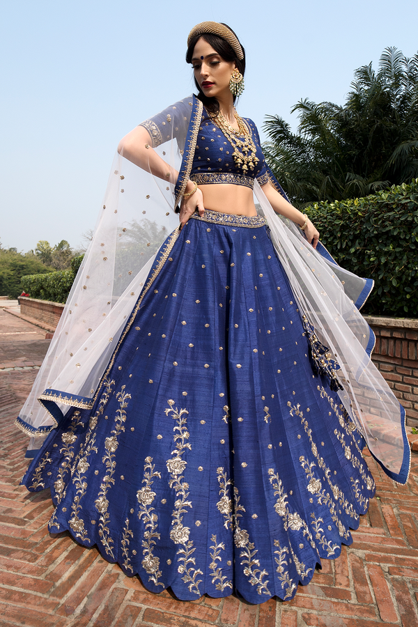Navy Blue Raw-silk Embroidery Lehenga