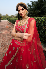 Red Organza Embroidery Tier Lehenga
