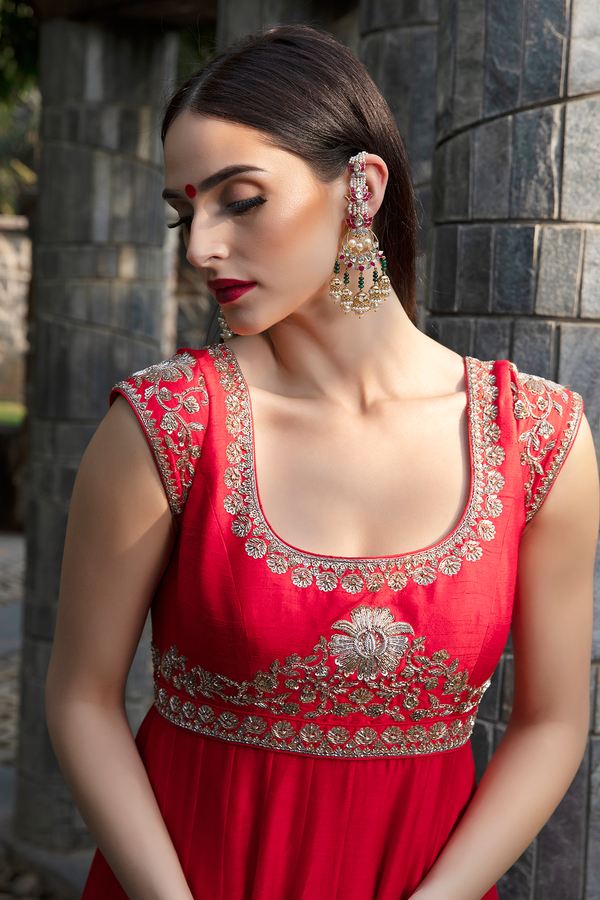 Red Embroidery Anarkali