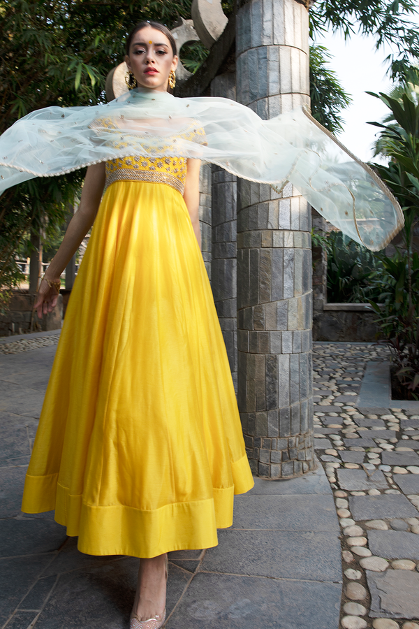 Yellow Embroidery Anarkali