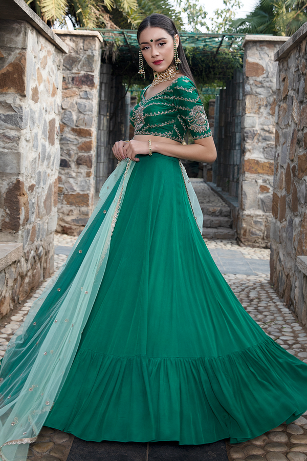 Bottle Green Crape Lehenga Set
