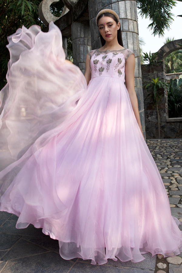 Baby Pink Organza Long Dress