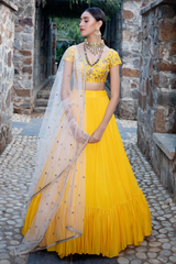 Yellow Crape Lehenga Set