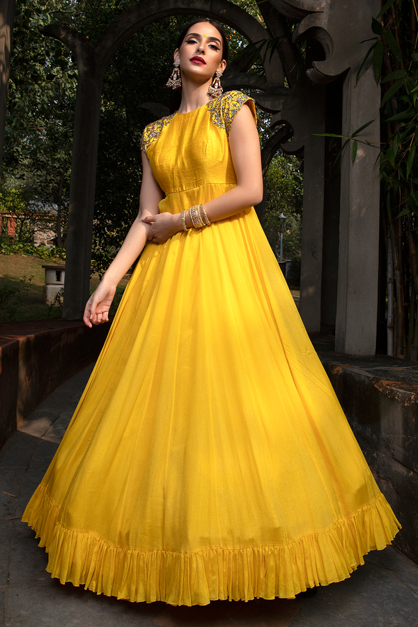 Yellow Crape Long Dress