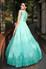 Mint Crape Long Dress