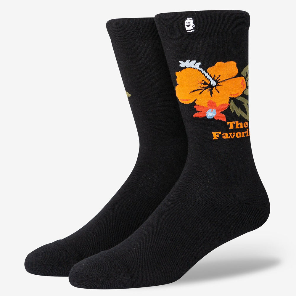 Black And Orange Flower Socks
