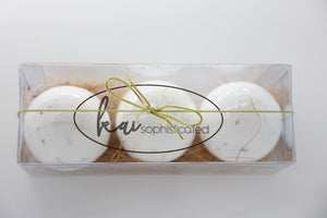 Bundle- 3 Hand Crafted Organic Bath Bombs Eucalyptus, Jasmine, and Aloe