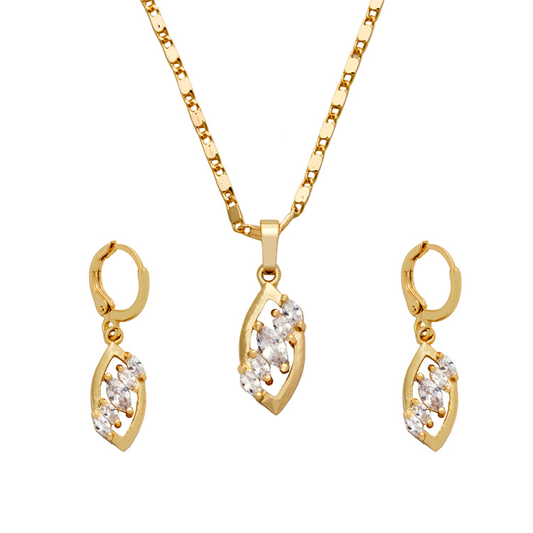 18K Gold Plated diamond cut Crystal 3 piece necklace and earring set