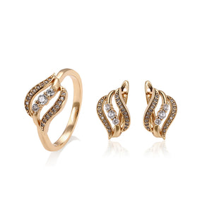 3 tier 18k Gold Ring/ Earring 3 Piece Set