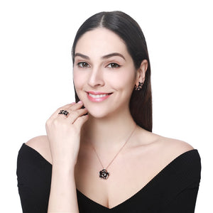 Flower Rose Gold with black accent Jewelry 4 piece set