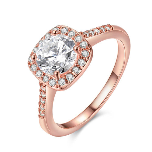 Hainon heirloom womens 1 carat red diamond cut crystal rings wedding engagement gold rose color