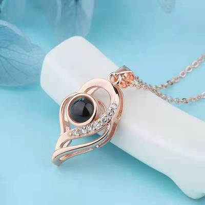 100 languages of I Love You rose gold plated silver pendant with diamond cut crystal pendant necklace.