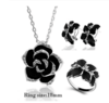 Silver flower Jewelry 3 piece set with black accent and white zircon