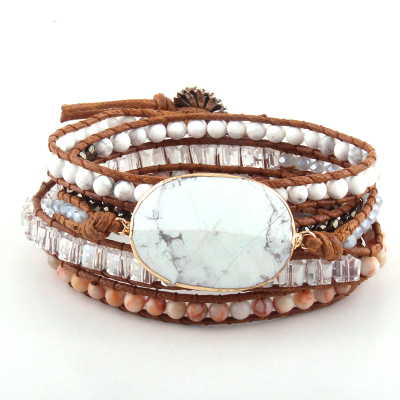 Amazonite Stone Handcrafted Leather Wrap Bracelet