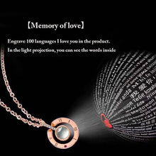 Load image into Gallery viewer, 100 languages of I Love You rose gold plated silver pendant with diamond cut crystal pendant necklace.
