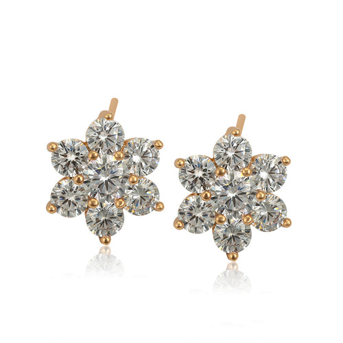 18 k Gold diamond cut CZ Flower Earrings