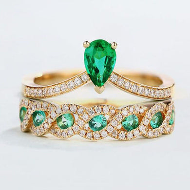 2 piece 18 ct Gold Plated Emerald Crystal Ring