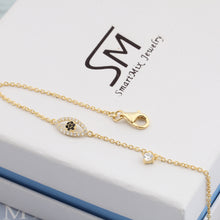 Load image into Gallery viewer, Adjustable Turkish Gold Plated on 925 Sterling Silver Eye Chain Bracelet Charm