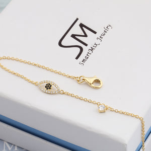 Adjustable Turkish Gold Plated on 925 Sterling Silver Eye Chain Bracelet Charm