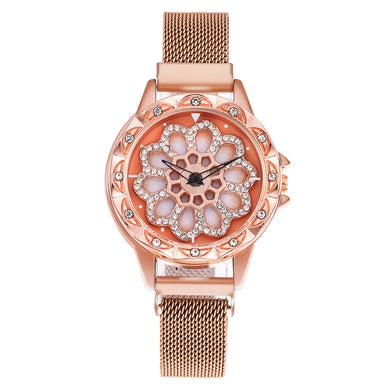 Lucky Flower Dial Lady Watch Women Quartz Luxury Wrist Watch Diamond Magnet Mesh Stainless band,