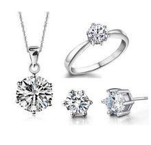 Load image into Gallery viewer, Fine, 925 silver vintage solitaire, 4 piece wedding set with diamond cut crystal zircon