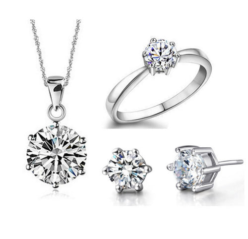 Fine, 925 silver vintage solitaire, 4 piece wedding set with diamond cut crystal zircon