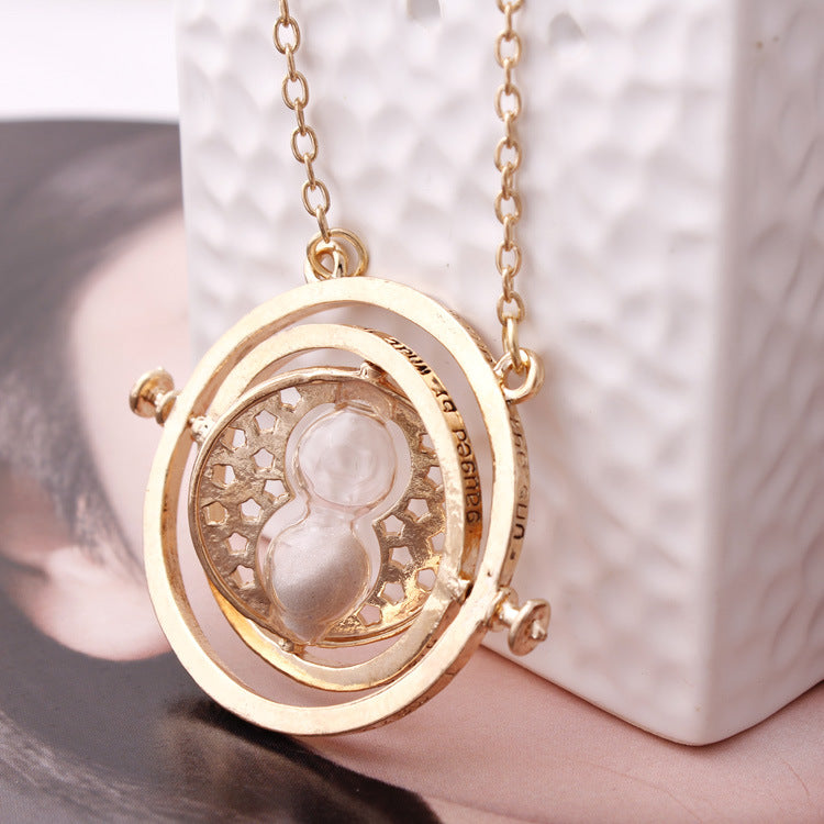 Harry Potter, Gold Plated, Time Turner, Hourglass Necklace