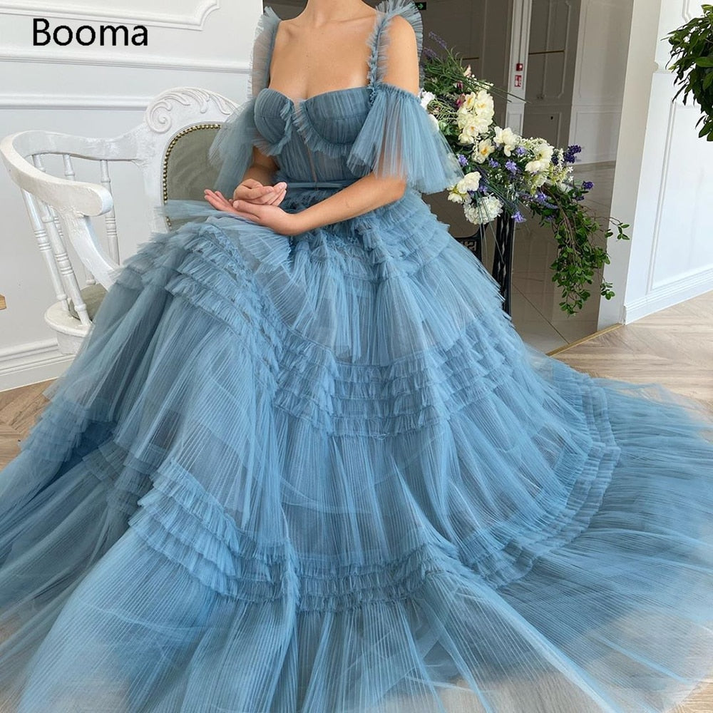 Booma Blue Long Prom Kleider Sweetheart Crumpled Tulle Abendkleider
