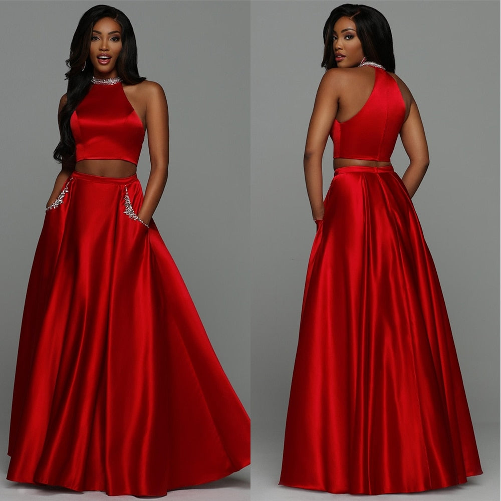 Satin Zweiteiler Prom Party Kleid Sexy Red Abendkleider