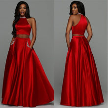 Laden Sie das Bild in den Galerie-Viewer, Satin Zweiteiler Prom Party Kleid Sexy Red Abendkleider